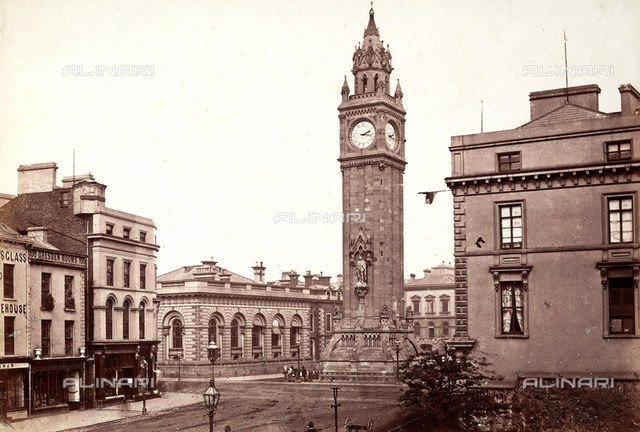 View of an Irish square with a clock tower in the center