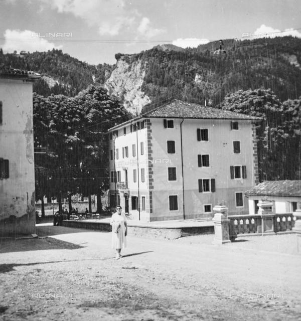 """Female portrait in front of Hotel """"Alla Fonte"""", Arta Terme"""