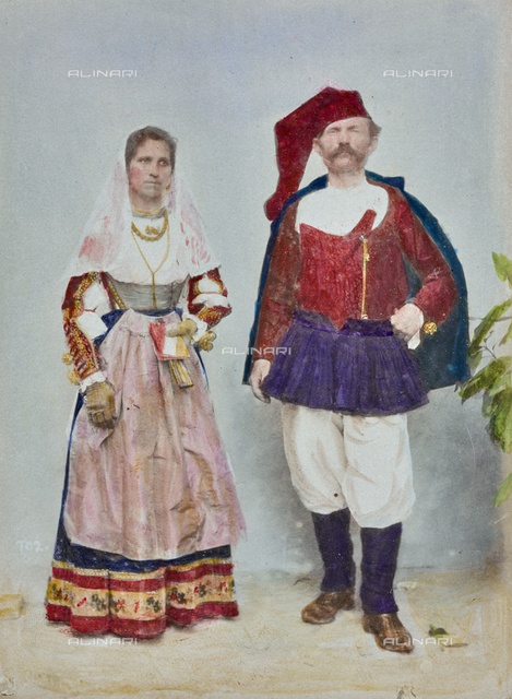 """Album """"Concorso di costumi 1900"""": Couple portrait in Sardinian traditional costume, Ittiri"""