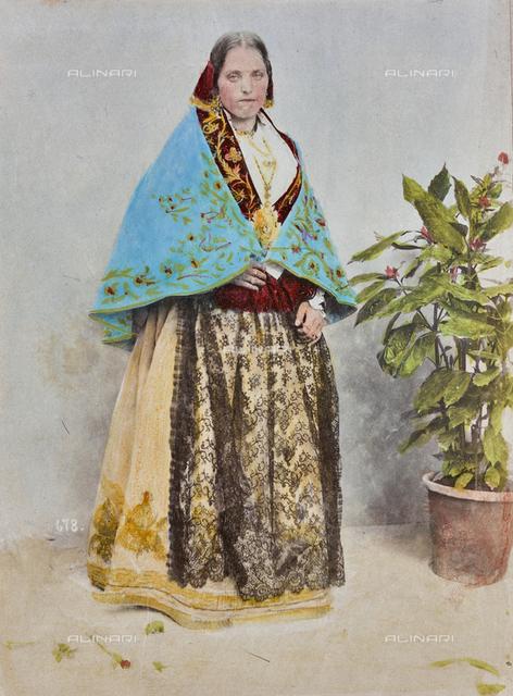 """Album """"Concorso di costumi 1900"""": Female portrait in traditional Sicilian costume, Piana degli Albanesi"""