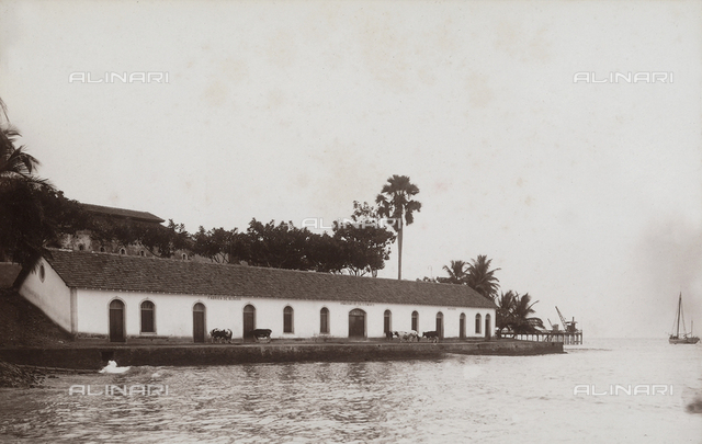 Cement block factory on the coast of Agua-izé, locality of the island of Sao Tomé, west side of Africa