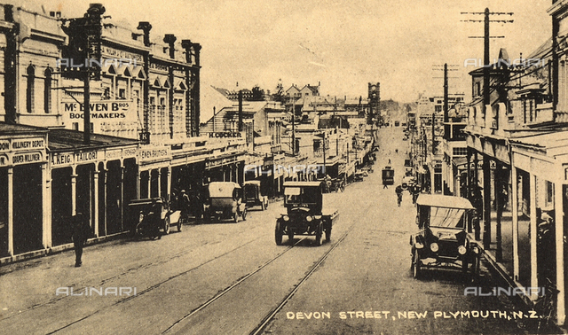 View of Devon Street with people in New Plymouth, New Zealand.