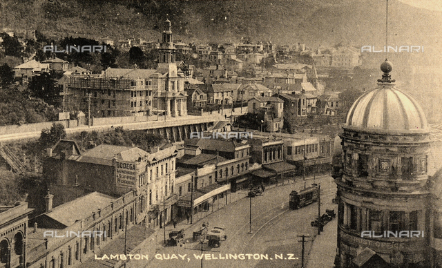 View of Lambton Quay with people in the city of Wellington, New Zealand.
