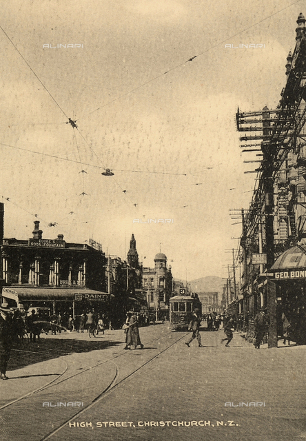 View of High Street with people in Christchurch, New Zealand.