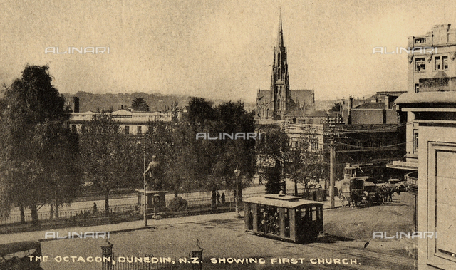 View of a square with people in Dunedin, New Zealand.