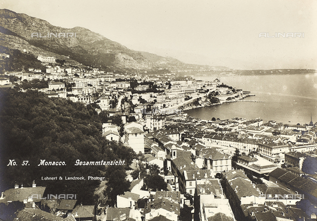 "Album ""Meine mittelmeer-reise 1910"": View of the city of Monaco and of its port"