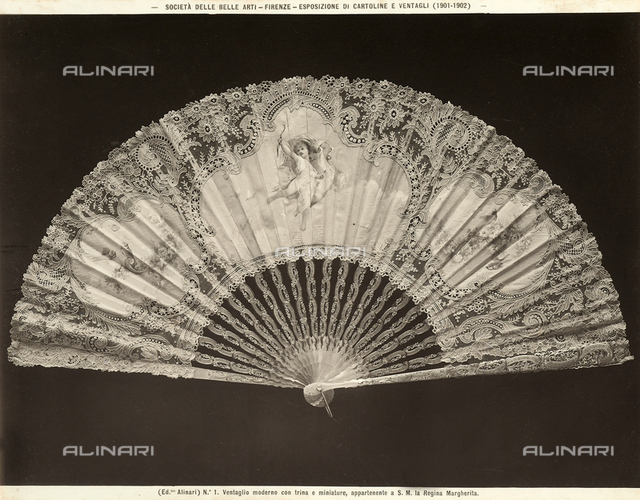 """Album of the Exhibition of Fans"" held in Florence (1901-1902); modern fan with lace and miniature , owned by Queen Margherita"