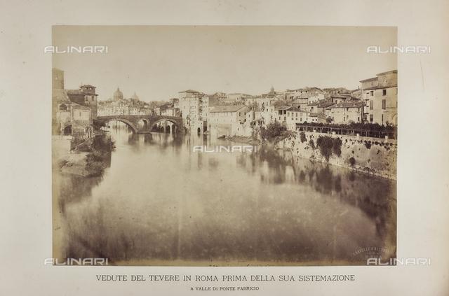 The River Tiber the left bank near Ponte Fabricio before refurbishment work