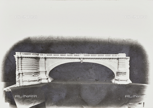 "Album ""Construction of the monumental bridge Umberto I in Turin"": model of an arch of the bridge"