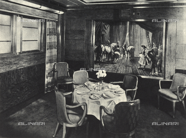 R.M.S. Queen Mary: one of the four small private dining halls of the transatlantic Queen Mary
