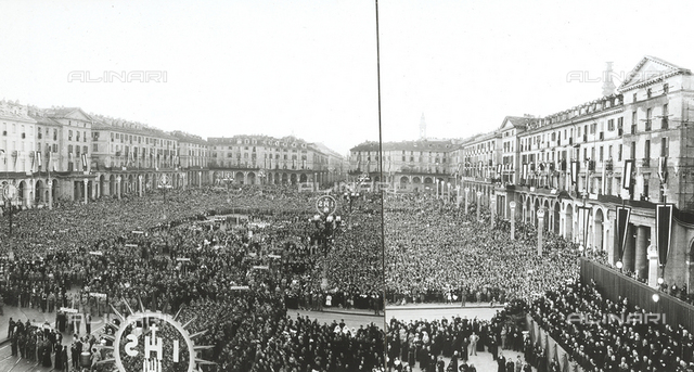 XIV National Eucharistic Congress of Turin: panoramic view of the workers march