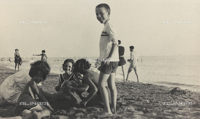 Children playing on the beach in Viareggio