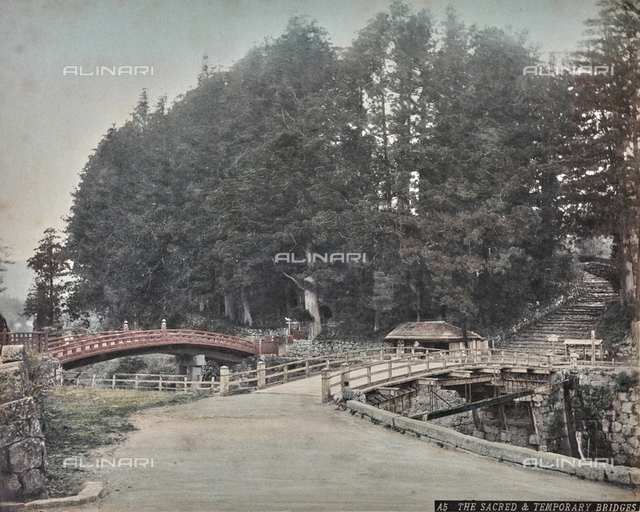 "Album ""Views & Costumes of Japan"": The Sacred & Temporary Bridges ""(The Sacred Bridge and the Transit Bridge)"