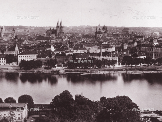View of the city of Prague from the other side of the Moldava river