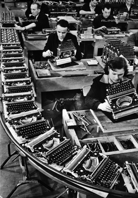 "The Olivetti Establishment in Ivrea: fitting shop of the ""Lettera 22"" typewriter"