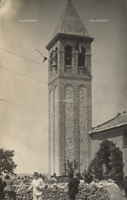 Bells being hoisted into the bell tower of the church of Montebello