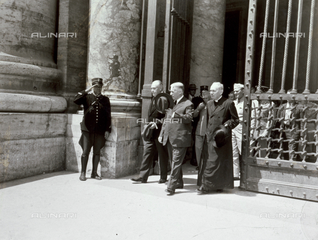 The U.S. Minister of War Henry Stimson, on an official visit to the Vatican, photographed coming out of the Basilica of St. Peter's