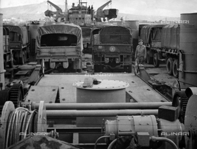 Transport vehicle on a Naval ship in the port of Anzio