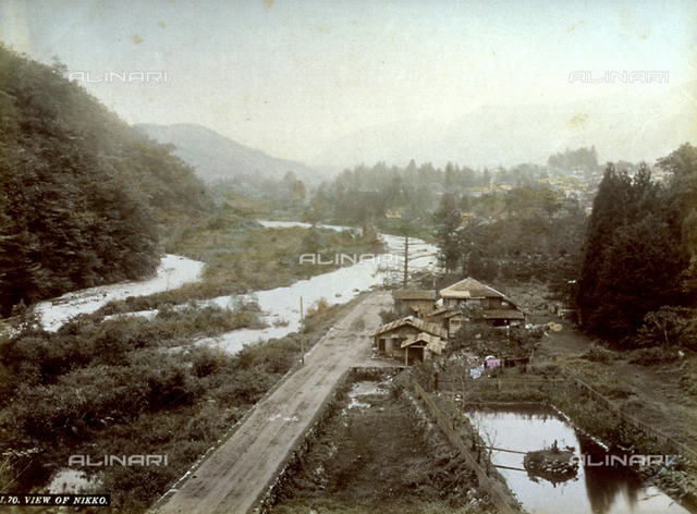 Panorama of the Japanese city of Nikko, in the center of the park of the same name