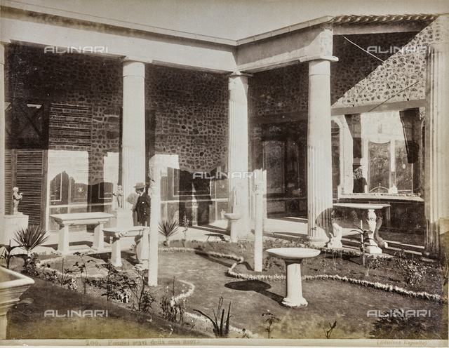 Peristyle of the House of the Vettii, excavations at Pompeii.