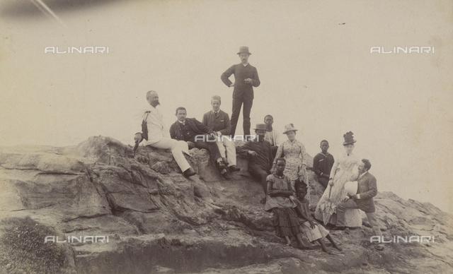 Group portrait on Fetish Rock in Accra, Ghana