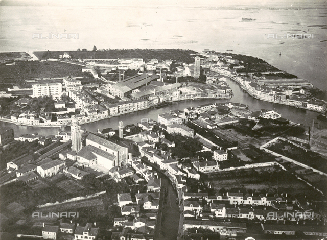 Aerial view of Murano from a P5