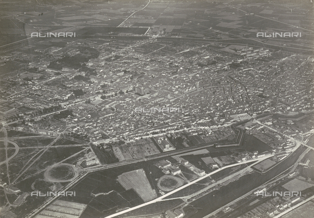 Aerial view of Ferrara from a V2
