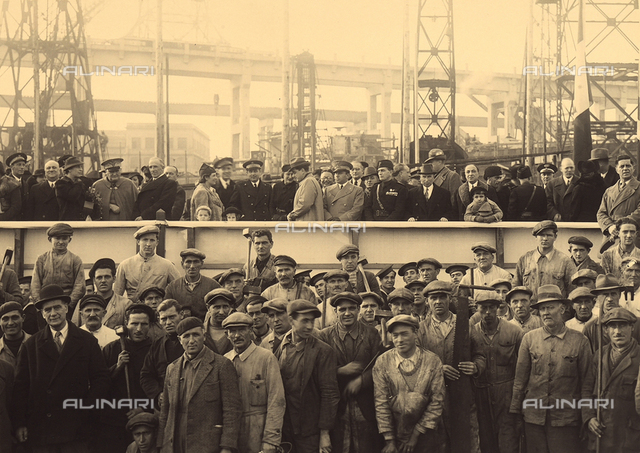 "Workers of the naval shipyard of Monfalcone, Gorizia, on the day of the launching of the submarine ""Velella"""