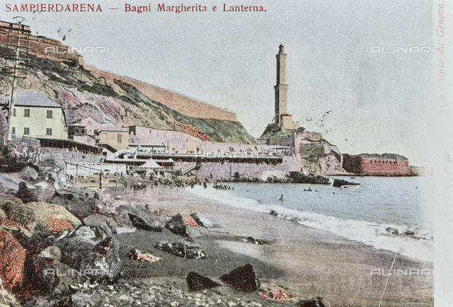 The Margherita Baths and the Lighthouse in the Sampierdarena district, Genoa