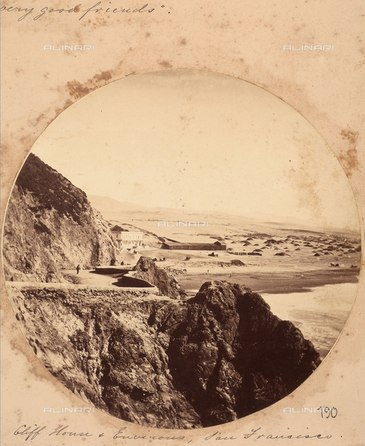 """View of the """"Cliff House"""", with its surrounding panorama, near San Francisco."""