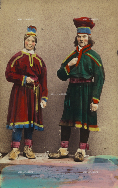 Portrait of a Finnish couple in traditional costume
