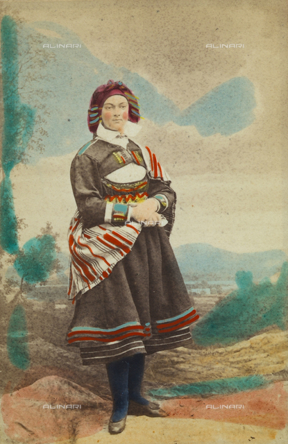 Portrait of a Norwegian woman in traditional costume