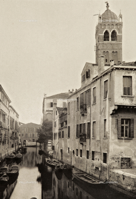 View of Rio Santa Fosca in Venice, with the bell tower of the Church of Santa Fosca