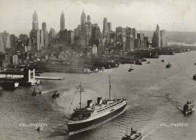 The transatlantic Rex arriving in New York with a panorama of the city in the background