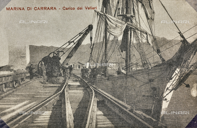 """Marina di Carrara, Carico dei Velieri"": marble blocks ready to be loaded on a ship"