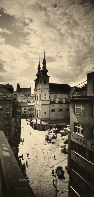 View of St. Michael's church, formerly a Dominican conventual church, and of the Dominican square in Brno, Czech Republic