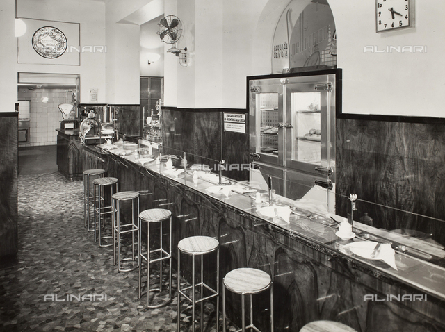 View of the Snack Bar of the Tantalo Restaurant, Via Silvio Pellico, Milan