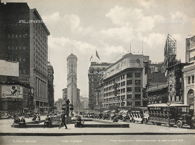 The Loew Building, headquarters of the Times and the Rialto Hotel along Broadway, New York