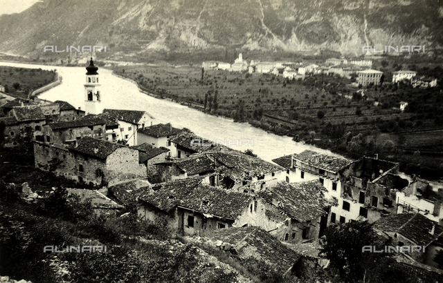 High-angle view of Srravalle during World War I