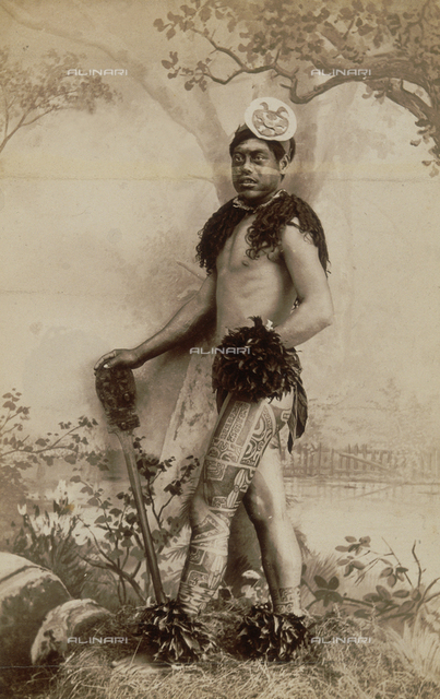 A tatooed indigenous man from the Marquesas Islands