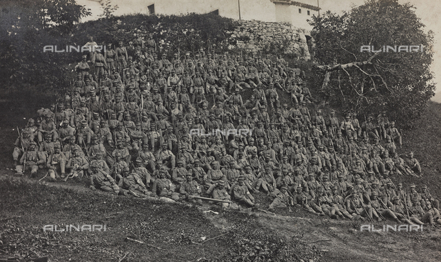 World War I: portrait of a group of Italian soldiers