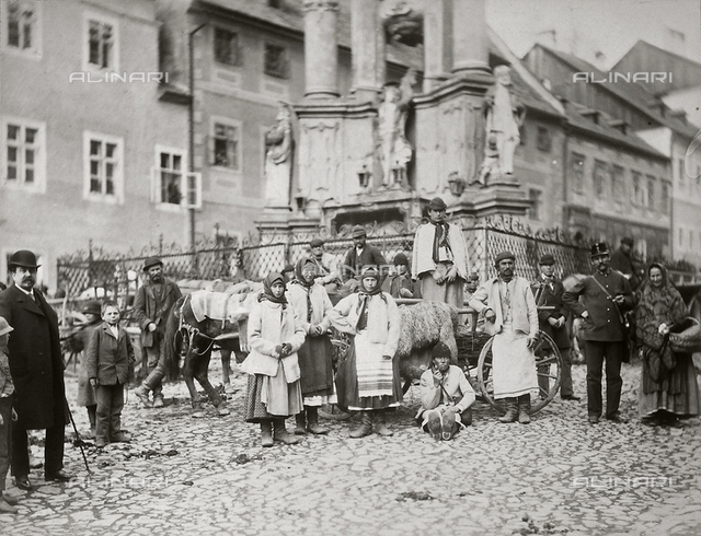 Group of people in traditional slavic dress, Chemnitz, Germany