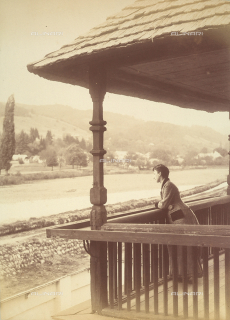 Young woman on the terrace of a house in Hagy-Banya