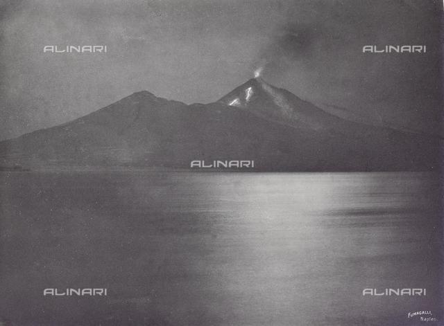 """Album """"Naples"""": View of the Vesuvius in eruption, Naples"""