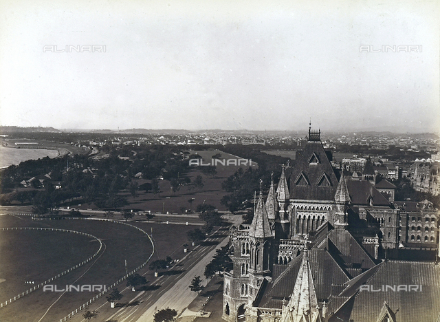 View of the pier and Government buildings in Bombay, India