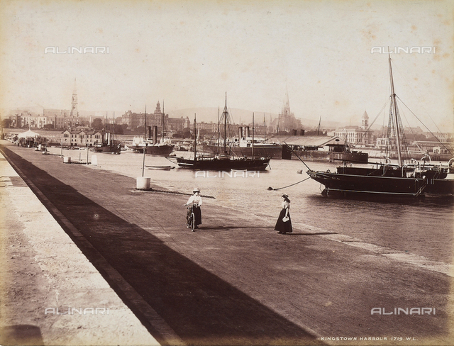 View of the victorian port of Kingstown (now Dun Laoghaie) near Dublin