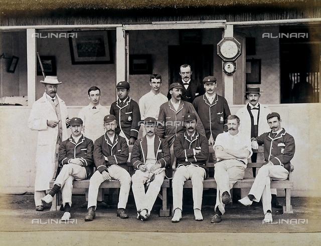 Portrait of a cricket team in sporting wear