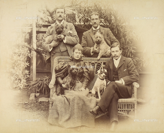 Portrait of a family with their dogs