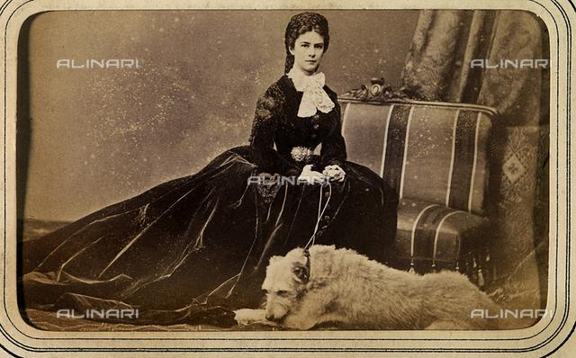 Portrait of Empress Elizabeth of Wittelsbach with her dog Shadow