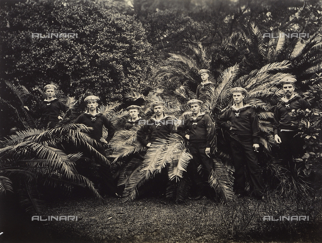 Group portrait of European sailors in a Chinese garden